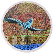 Bald Head Island, Gator, Blue Heron Round Beach Towel