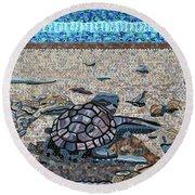 Bald Head Island, Loggerhead Sea Turtle Round Beach Towel