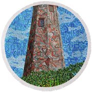 Bald Head Island, Old Baldy Lighthouse Round Beach Towel