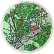 Bald Head Island, Painted Bunting At Defying Gravity Round Beach Towel