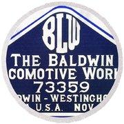 Baldwin Diesel Builders Plate Round Beach Towel