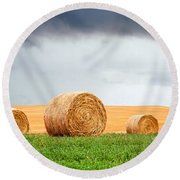 Bales And Layers Round Beach Towel