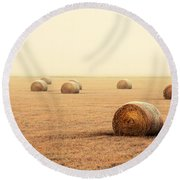 Bales In The Fog Round Beach Towel