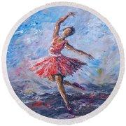 Ballet Dancer Round Beach Towel