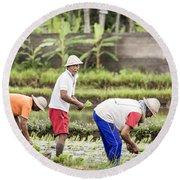 Bali Farming Round Beach Towel