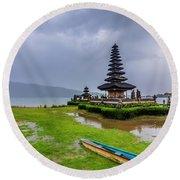 Bali Lake Temple Round Beach Towel
