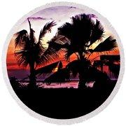 Bali Sunset Round Beach Towel