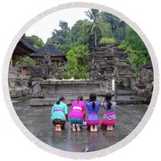 Bali Temple Women Bowing Round Beach Towel
