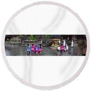 Bali Temple Women Bowing Panoramic Round Beach Towel