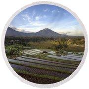 Bali Terrace Rice Field Round Beach Towel