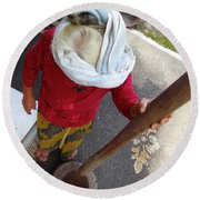 Balinese Lady Grinding Coffee Round Beach Towel