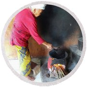 Balinese Lady Roasting Coffee Over The Fire Round Beach Towel