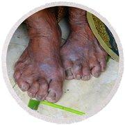 Balinese Lady's Feet Round Beach Towel