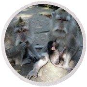 Balinese Monkey Family Round Beach Towel