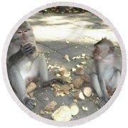 Balinese Monkeys Eating Round Beach Towel