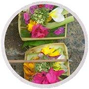 Balinese Offering Baskets Round Beach Towel