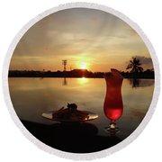 Balinese Orange Sunset With Drink Round Beach Towel