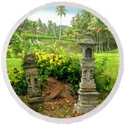 Balinese Rice Field Shrines Round Beach Towel