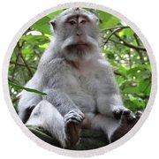Balinese Serious Monkey Round Beach Towel
