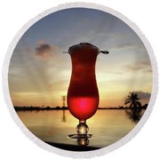 Balinese Sunset With Red Drink Round Beach Towel