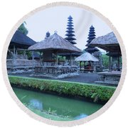 Balinese Temple By The Water Round Beach Towel
