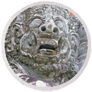 Balinese Temple Guardian Round Beach Towel