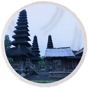 Balinese Temple On Side Round Beach Towel