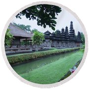 Balinese Temple With Flower Round Beach Towel