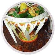 Balinese Traditional Dinner Basket Round Beach Towel