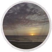 Ball Of Gold On The Horizon Round Beach Towel
