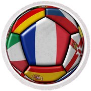 Ball With Flag Of France In The Center Round Beach Towel