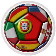 Ball With Flag Of Portugal In The Center Round Beach Towel