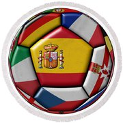 Ball With Flag Of Spain In The Center Round Beach Towel