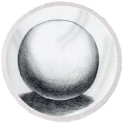 Ball With Shadow Round Beach Towel