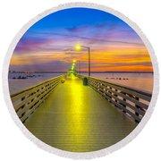 Ballast Point Sunrise - Tampa, Florida Round Beach Towel