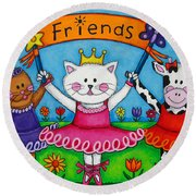 Ballerina Friends Round Beach Towel