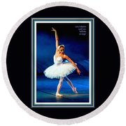 Ballerina On Stage L A With Decorative Ornate Printed Frame. Round Beach Towel
