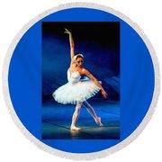 Ballerina On Stage L B Round Beach Towel