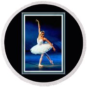 Ballerina On Stage L B With Decorative Ornate Printed Frame. Round Beach Towel