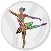 Ballet Dancer-colorful Round Beach Towel