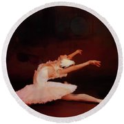 Ballet Dancer In White  Round Beach Towel
