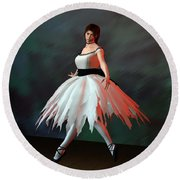 Ballet Dancer Round Beach Towel
