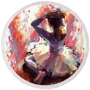 Ballet Dancer Siting  Round Beach Towel