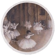 Ballet Rehearsal On The Stage Round Beach Towel
