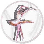 The Ballerina Dance Art Remix Round Beach Towel