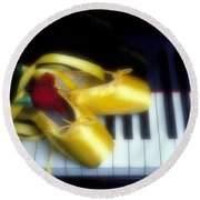 Ballet Shoes On Piano Keys Round Beach Towel by Garry Gay
