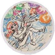 Balloon Flight  Round Beach Towel