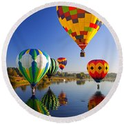 Balloon Reflections Round Beach Towel by Mike  Dawson