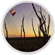 Ballooning At Sunset Round Beach Towel