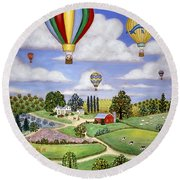 Ballooning In The Country One Round Beach Towel